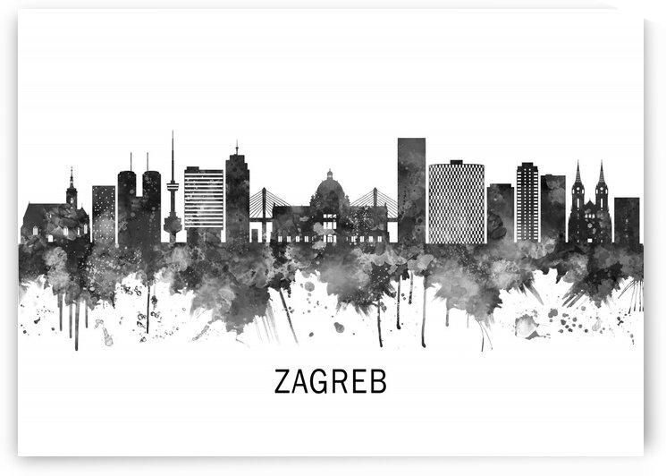 Zagreb Croatia Skyline BW by Towseef Dar