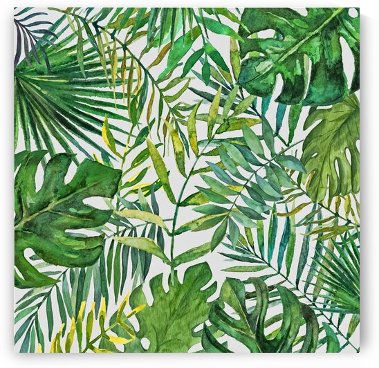 Tropical Leaves Green On Cream by HH Photography of Florida