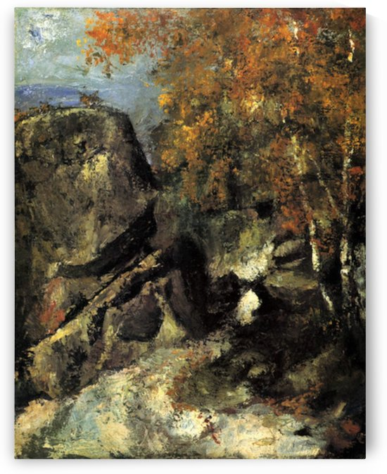 Rocks in Fountanbleu Forest by Cezanne by Cezanne