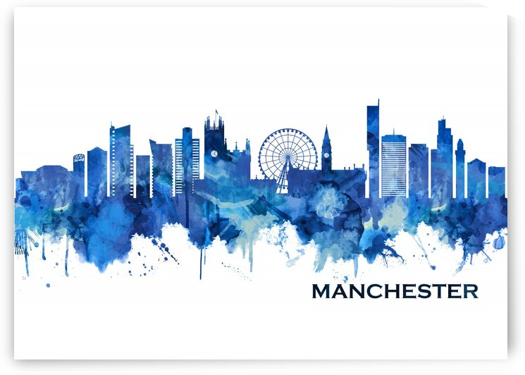 Manchester England Skyline Blue by Towseef Dar