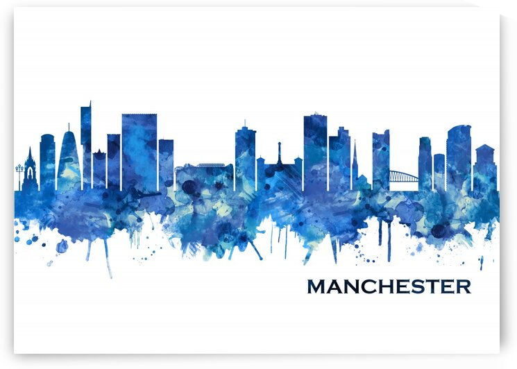 Manchester Skyline Blue by Towseef Dar