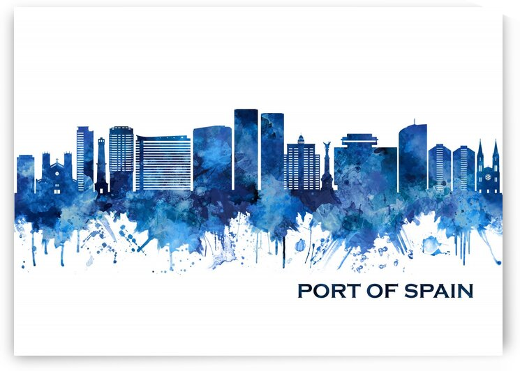 Port Of Spain Trinidad and Tobago Skyline Blue by Towseef Dar