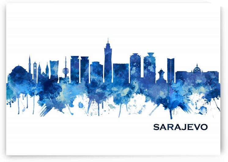 Sarajevo Bosnia and Herzegovina Skyline Blue by Towseef Dar