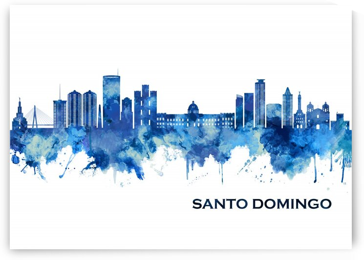 Santo Domingo Dominican Republic Skyline Blue by Towseef Dar