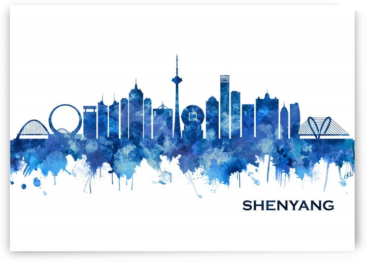 Shenyang China Skyline Blue by Towseef Dar