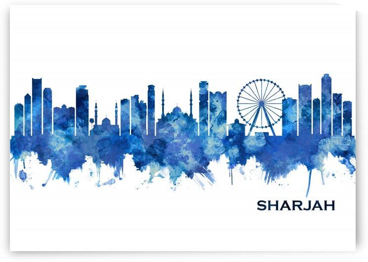 Sharjah UAE Skyline Blue by Towseef Dar