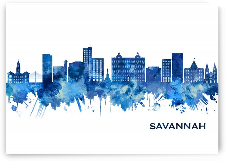 Savannah Georgia Skyline Blue by Towseef Dar