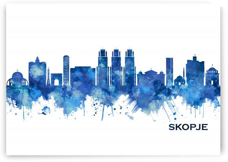 Skopje Republic of Macedonia Skyline Blue by Towseef Dar