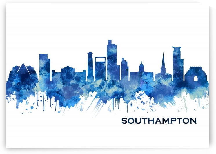 Southampton England Skyline Blue by Towseef Dar