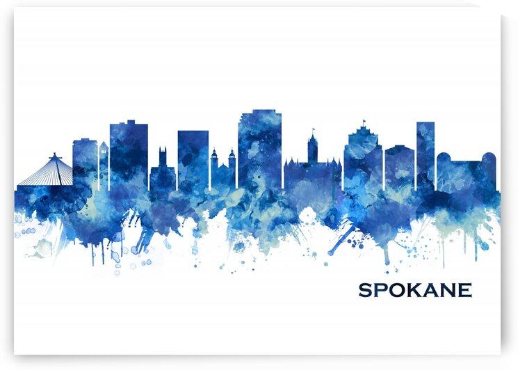 Spokane Washington Skyline Blue by Towseef Dar
