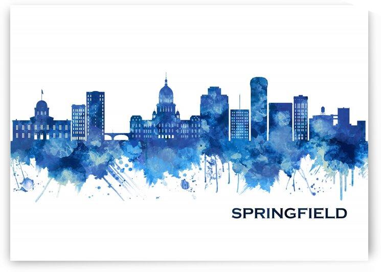 Springfield Illinois Skyline Blue by Towseef Dar