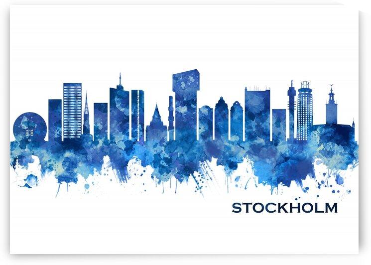 Stockholm Sweden Skyline Blue by Towseef Dar