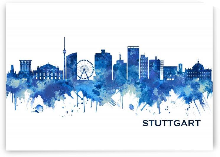 Stuttgart Germany Skyline Blue by Towseef Dar
