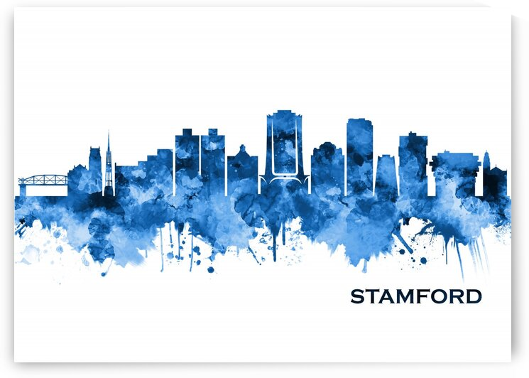Stamford Connecticut Skyline Blue by Towseef Dar
