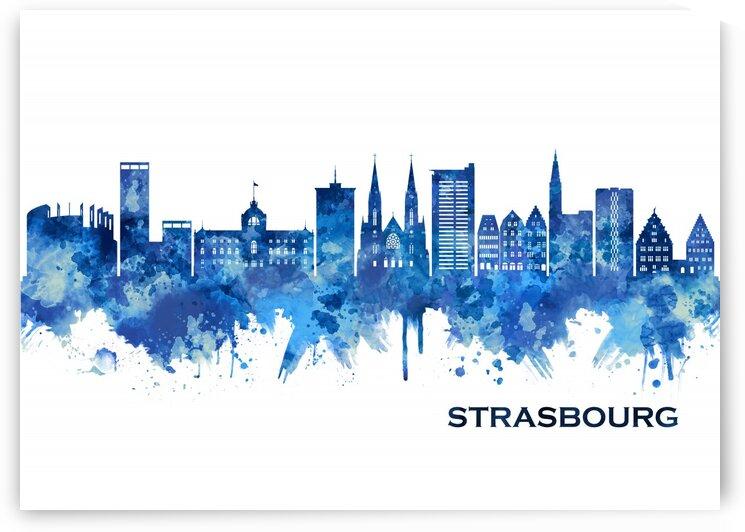 Strasbourg France Skyline Blue by Towseef Dar