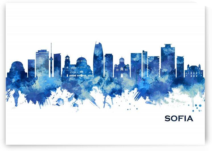 Sofia Bulgaria Skyline Blue by Towseef Dar