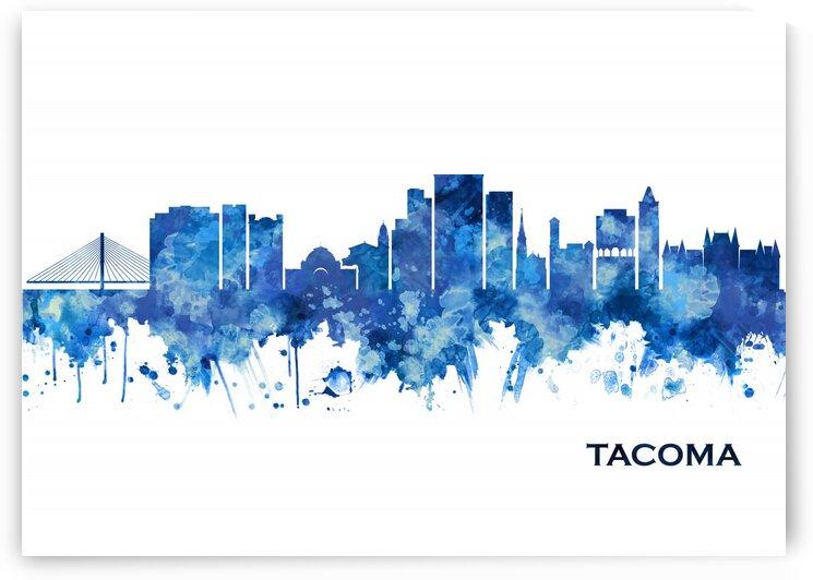 Tacoma Washington Skyline Blue by Towseef Dar