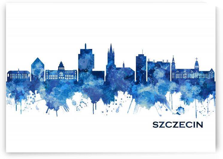 Szczecin Poland Skyline Blue by Towseef Dar