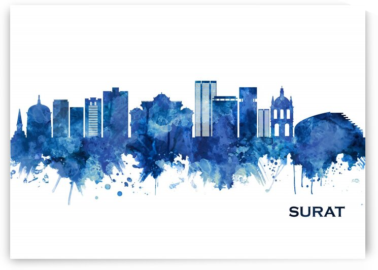 Surat India Skyline Blue by Towseef Dar