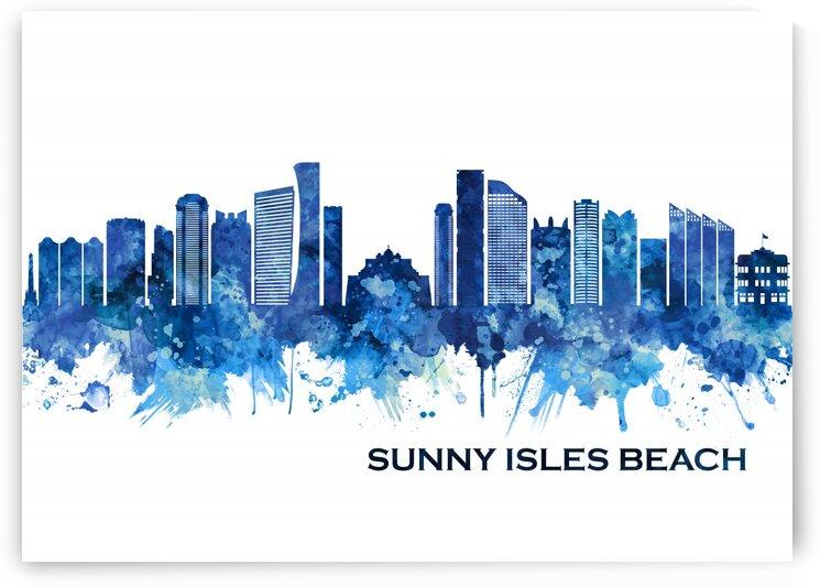 Sunny Isles Beach Florida Skyline Blue by Towseef Dar