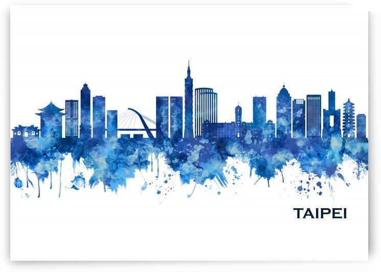 Taipei Taiwan Skyline Blue by Towseef Dar