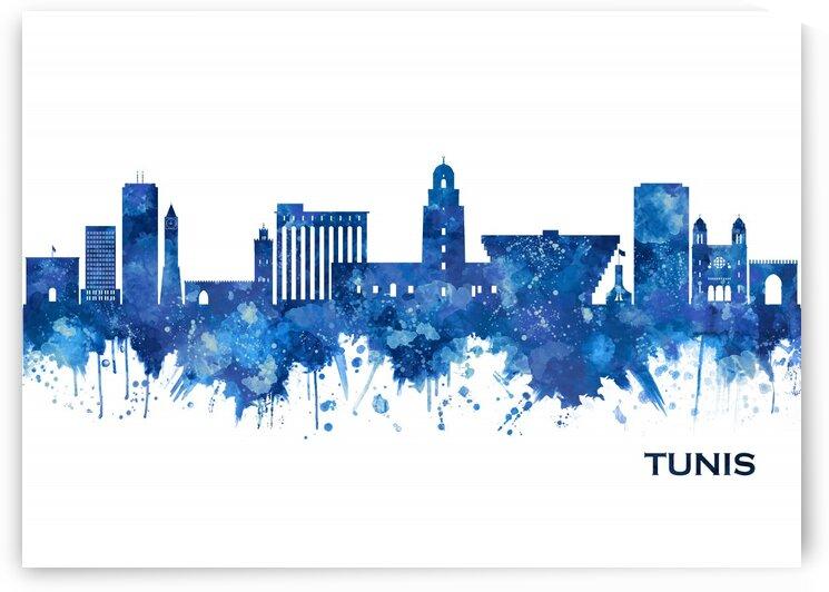 Tunis Tunisia Skyline Blue by Towseef Dar