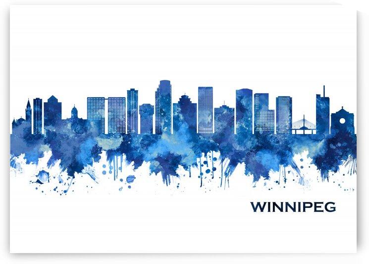 Winnipeg Manitoba Skyline Blue by Towseef Dar