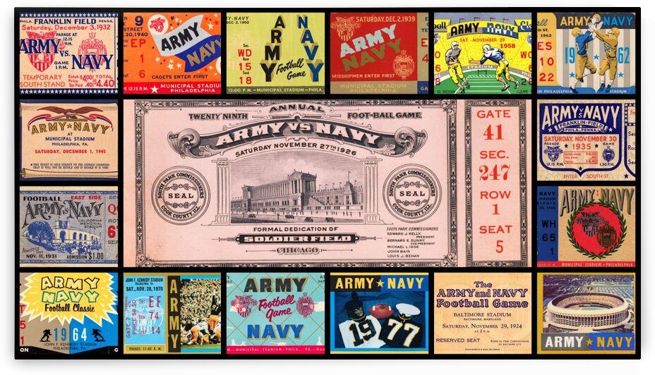Army Navy Football Ticket Stub Collage by Row One Brand