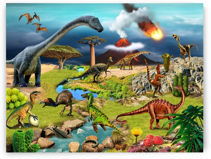 Dinosaurs animals picture poster Jigsaw Puzzle 2 by Radiy Bohem