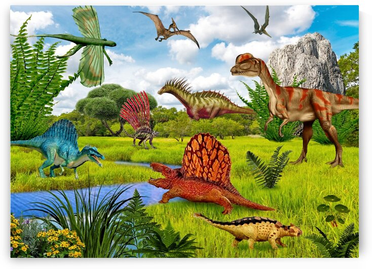 Dinosaurs animals picture poster Jigsaw Puzzle 3 by Radiy Bohem