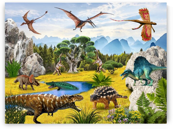 Dinosaurs animals picture poster Jigsaw Puzzle 4 by Radiy Bohem