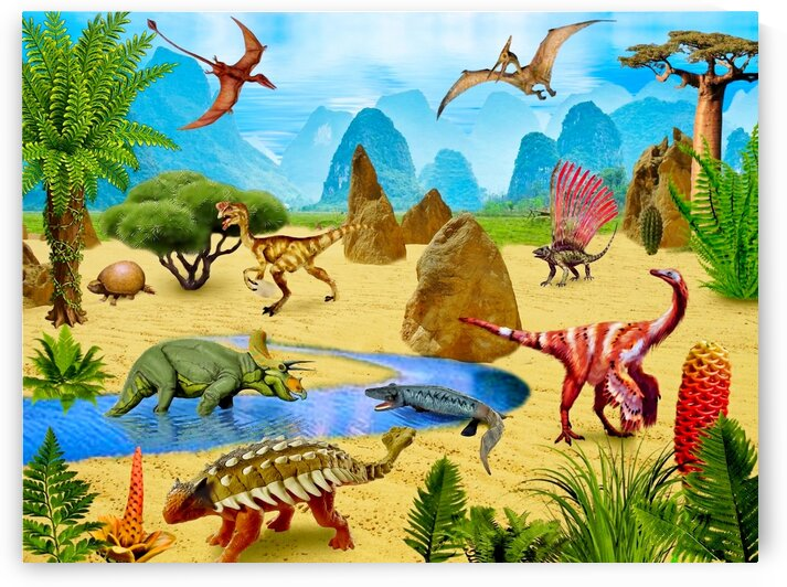 Dinosaurs animals picture poster Jigsaw Puzzle by Radiy Bohem