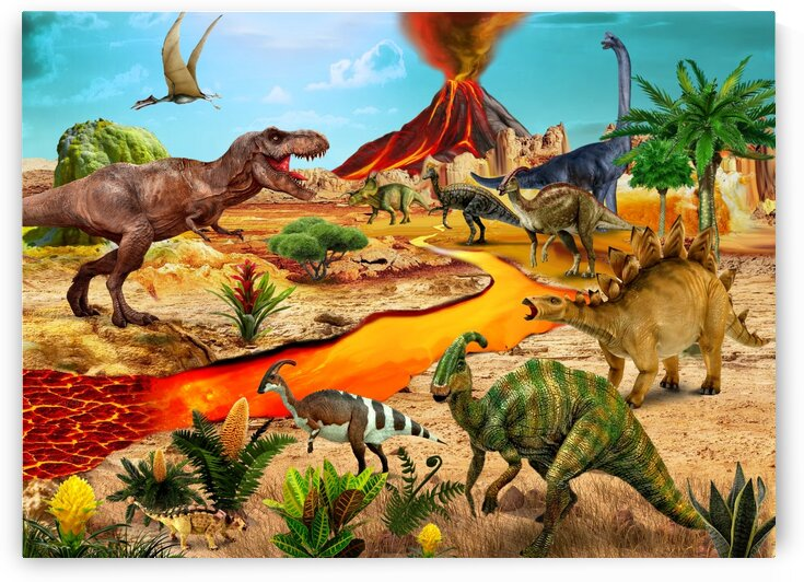 Dinosaurs animals picture poster Jigsaw Puzzle 5 by Radiy Bohem