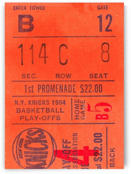 1984 New York Knicks Ticket Stub Art by Row One Brand