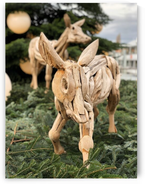 Merry Xmas from the Crib and the Rudi Swiss Reindeer  by Swiss Art by Patrick Kobler