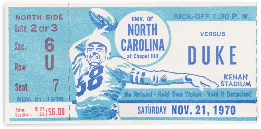 1970 North Carolina vs. Duke by Row One Brand