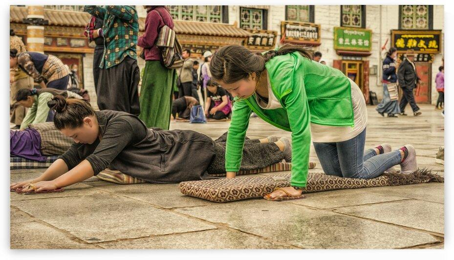 People Praying At The Buddhist Monastery Tibet 22   6-2016 by Vlad Meytin