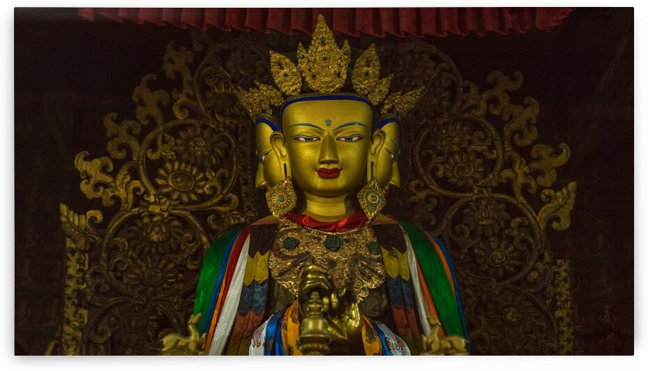 Three Faces Buddha Statue In A Buddhist Monastery Tibet 53 | 6-2016 by Vlad Meytin