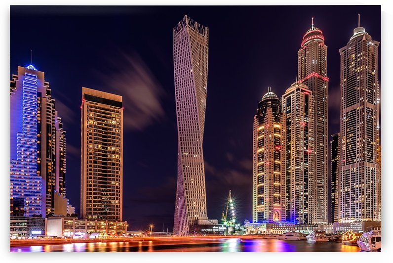 Dubai Marina Night Shot by 1x