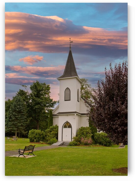 Church and Bench at Dusk by Darryl Brooks