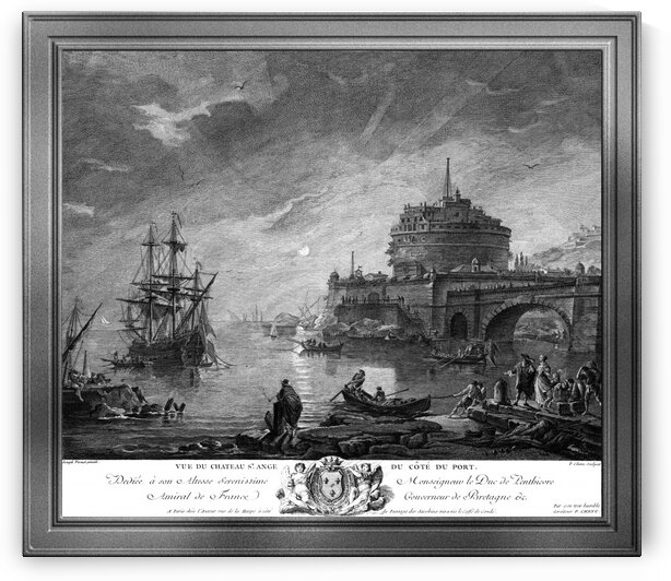 View of Saint Angels Castle from Port Side by Engraver Pierre Chenu Classical Art Old Masters Reproduction by xzendor7