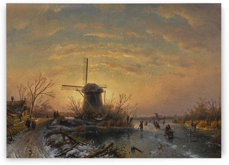Windmill Winter Landscape by Charles Henri Joseph Leickert