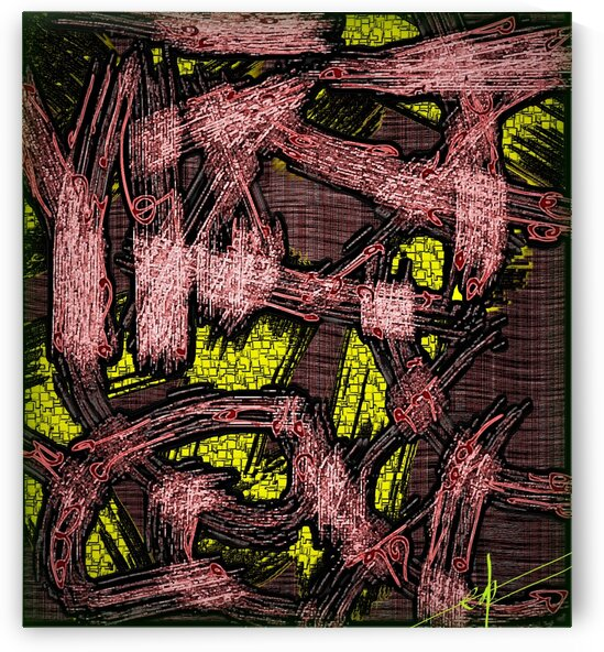 Shredded BBQ TOFU & Yellow Mini Square Glass Tiles by Ed Purchla