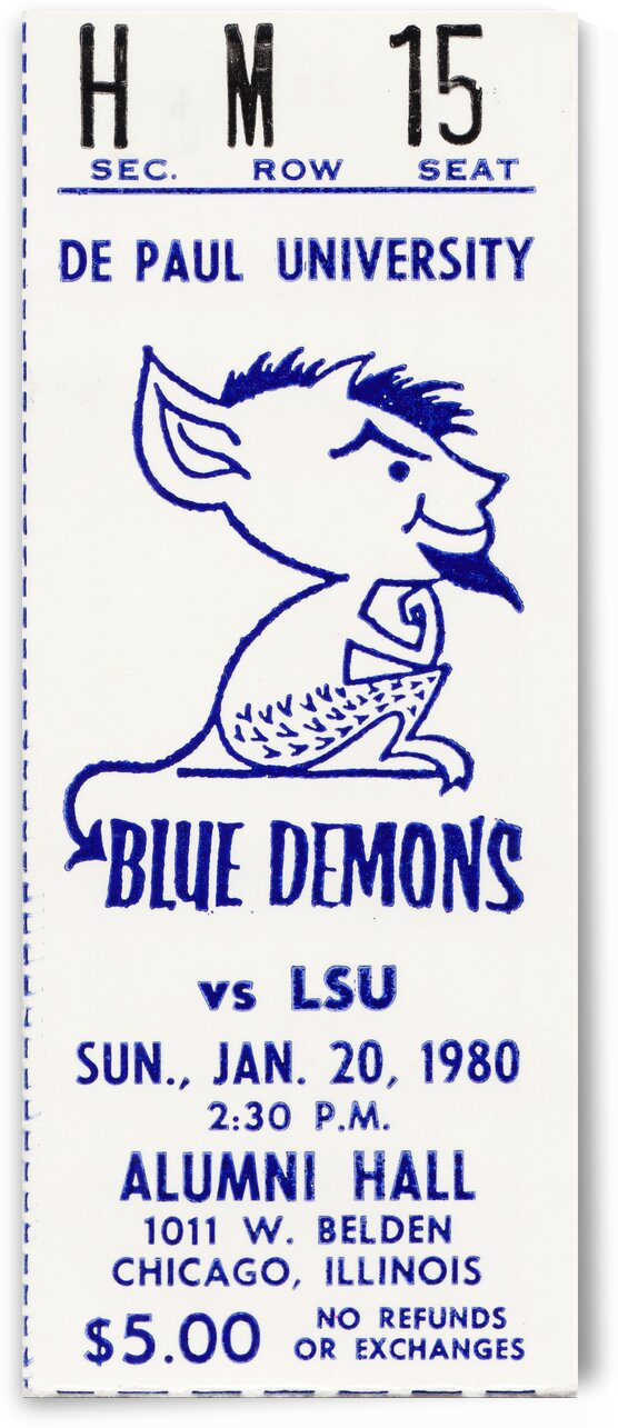 1980 LSU vs. DePaul Basketball Ticket Stub Print by Row One Brand