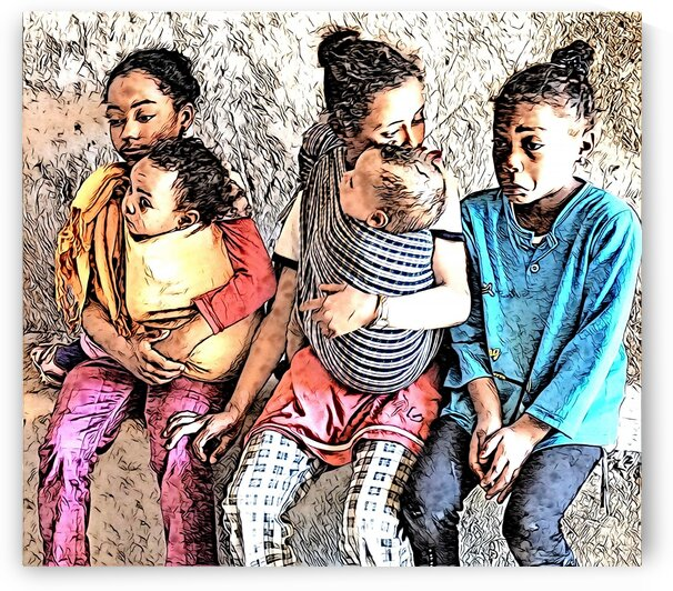 CHILDREN RAISING CHILDREN - Abstract -Morocco by Robert David Concienne