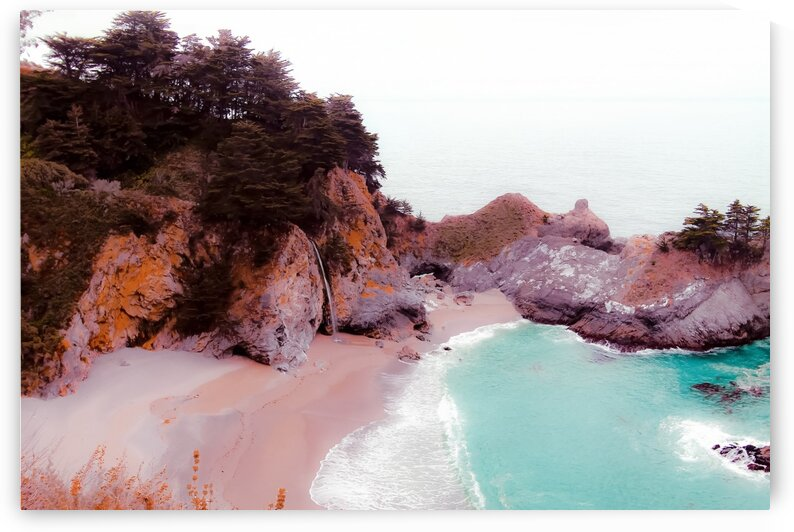 waterfall and beach at Mcway Falls Big Sur Highway 1 California USA by TimmyLA