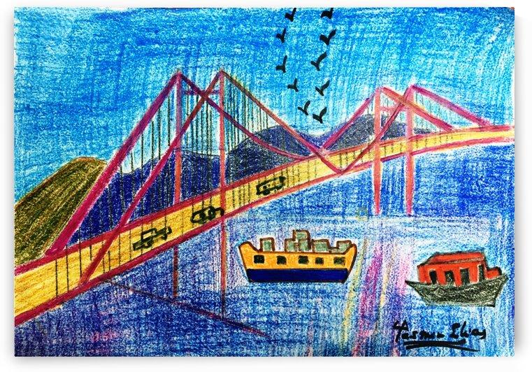 Istanbul Bridge pencil sketch Art by Yasmin MUhammad Elias