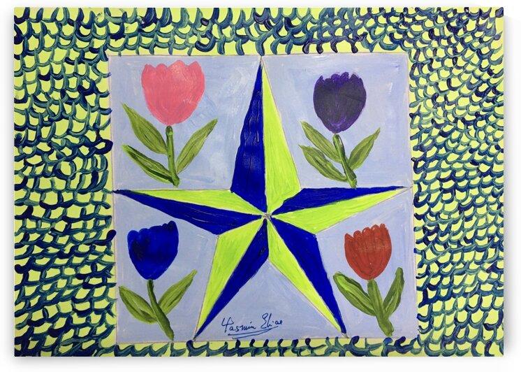 Star paintwith tulips by Yasmin MUhammad Elias