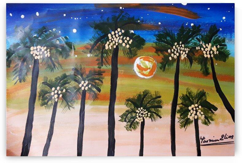 PalmtreesSunset acrylic by Yasmin MUhammad Elias