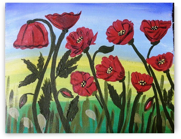 Poppy Flower Landscape Painting Wall Art - Home - Office Decor by Yasmin MUhammad Elias